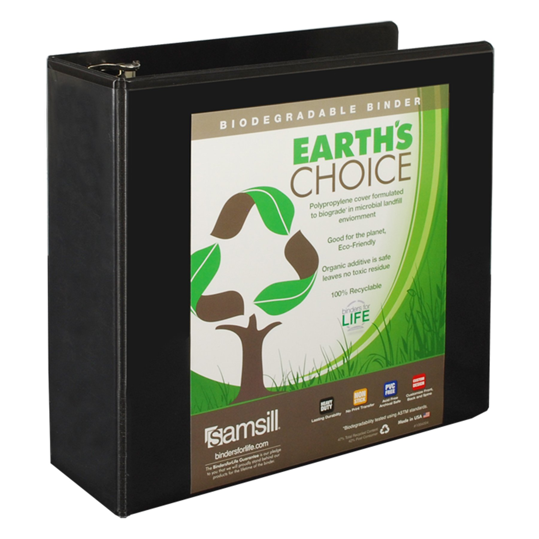 Samsill Earth's Choice Biobased View Binder, 3 Ring Binder, 4 Inch, Round Ring, Customizable, Black