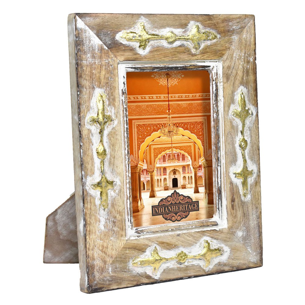 Indian Heritage - Wooden Photo Frame 4x6 Mango Wood with Metal Cladding Design in Dark Wood with Whitewash and Golden Finish