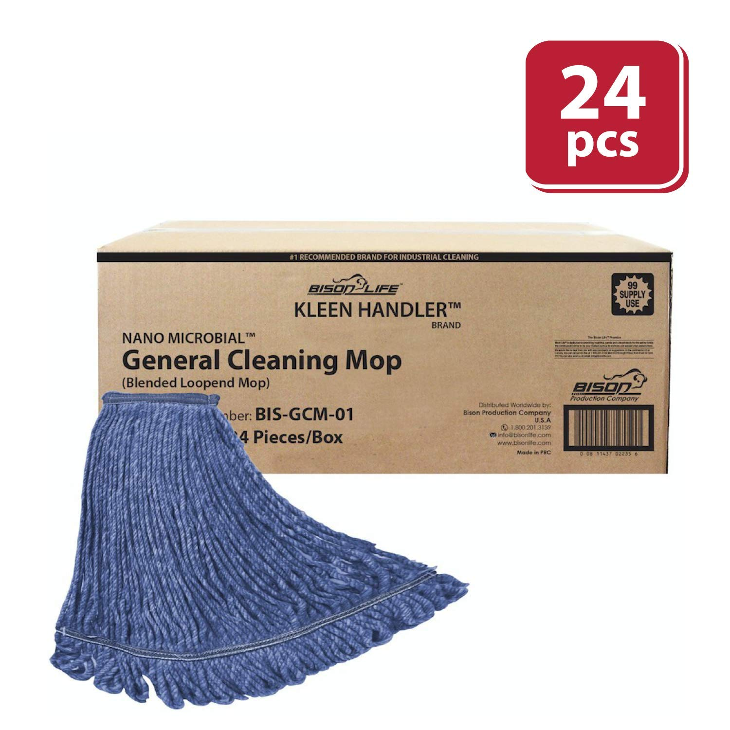 KLEEN HANDLER HEAVY DUTY Commercial Mop Head Replacement, Wet Industrial Blue Cotton Looped End String Cleaning Mop Head Refill (Case of 24)