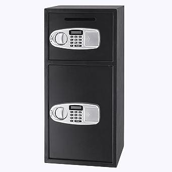 Tecmaqui Caja de Fuerte Caja Fuerte de Seguridad con 2 Cajas Separadas Caja Fuerte Digital de
