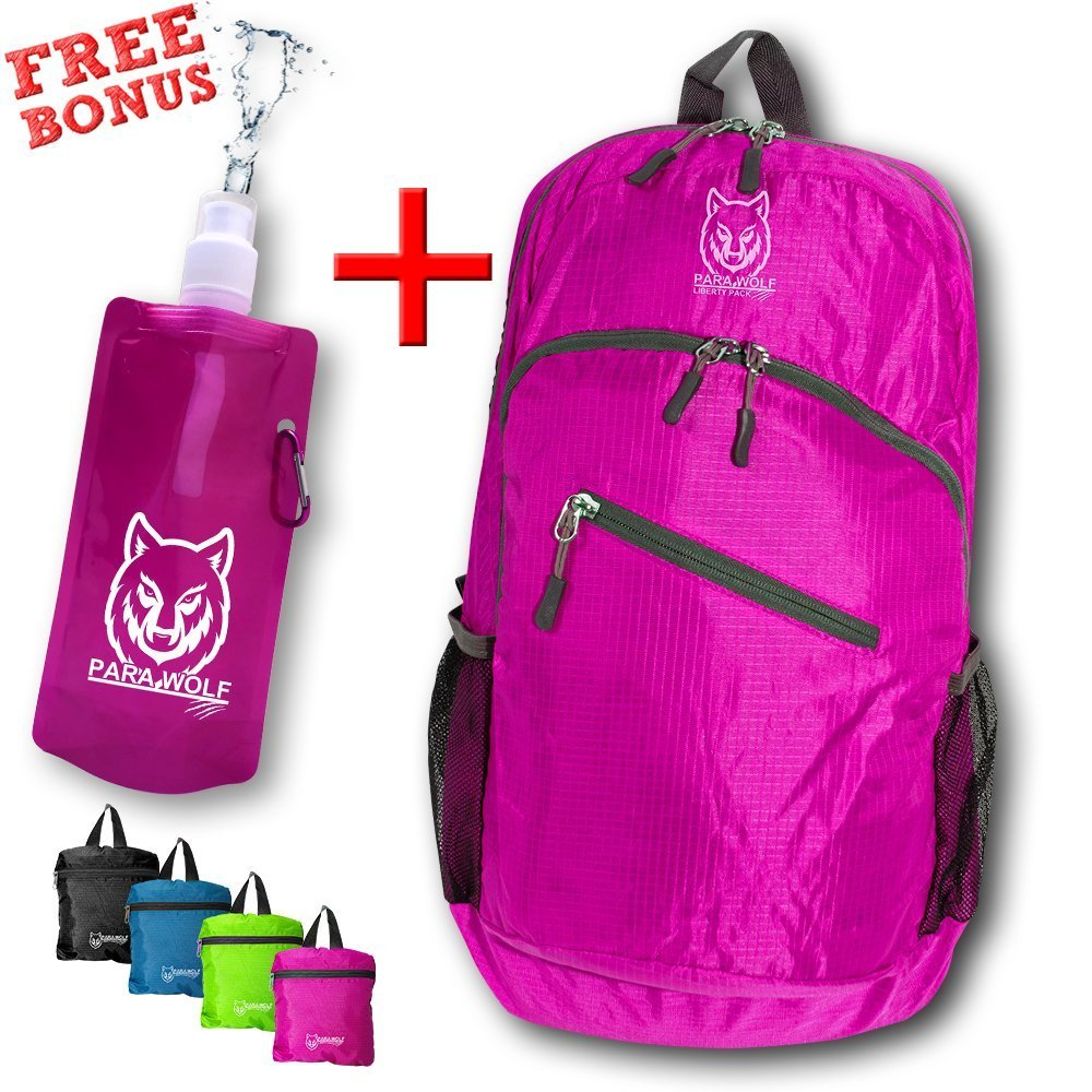 DayPack, ParaWolf Travel Backpack - LIGHT - FOLDABLE - PACKABLE - DAYPACK with Waterproof Fabric and Zipper Pockets (With the Best Bonus of a Matching Foldable Water Bottle) Concept Savvy Inc.