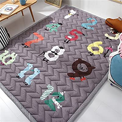 USTIDE Baby Play Mat Cotton Floor Gym - Non-Toxic Non-Slip Reversible Washable,Numbers Game, Large: Home & Kitchen