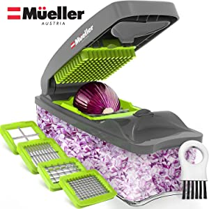 Mueller Chopper 4 Blade Pro Series - Strongest - NO MORE TEARS 40% Heavier Duty Multi Vegetable-Fruit-Cheese-Onion Chopper-Dicer-Kitchen Cutter