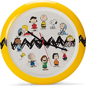Mark Feldstein Peanuts Characters Zig Zag Yellow and Black Wall Clock, 13 Inch