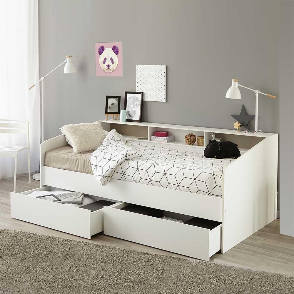 Pharao24 Bett in Weiß mit Regalfächern Bettkasten Nein