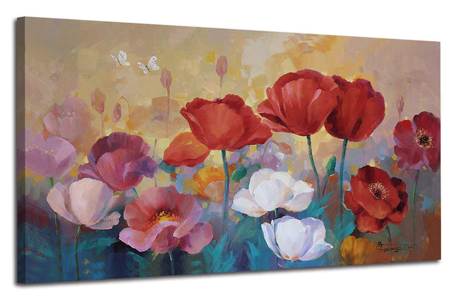 """Arjun Canvas Wall Art Red Poppies Flowers Painting Colorful Plants Florals Picture, 48""""x24"""" One Panel Large Size Picture Prints Framed Large for Living Room Bedroom Kitchen Home Office Decor"""