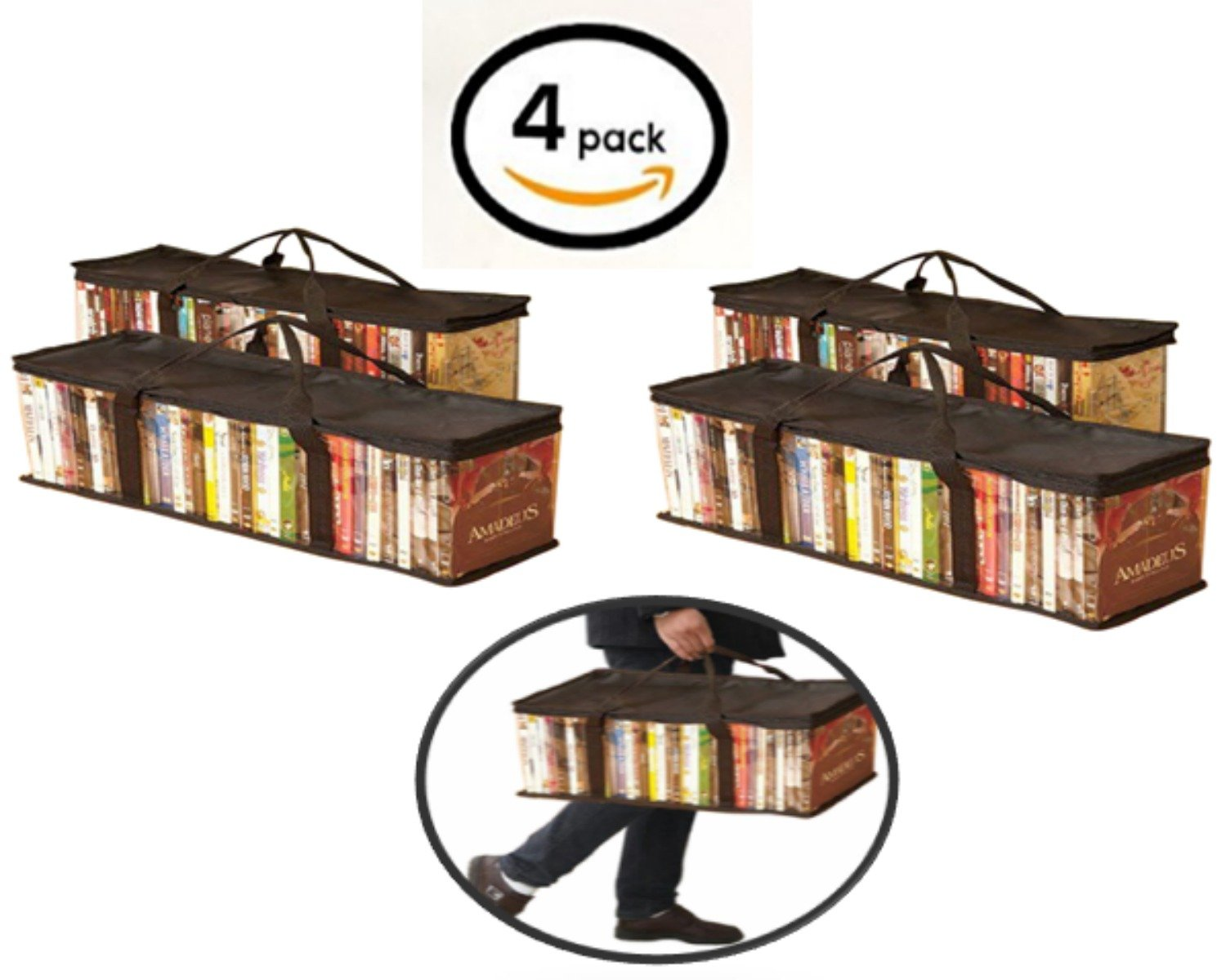 Globalis Portable DVD Storage Bag, 4-Pack Stores 40 DVDs Each Bag