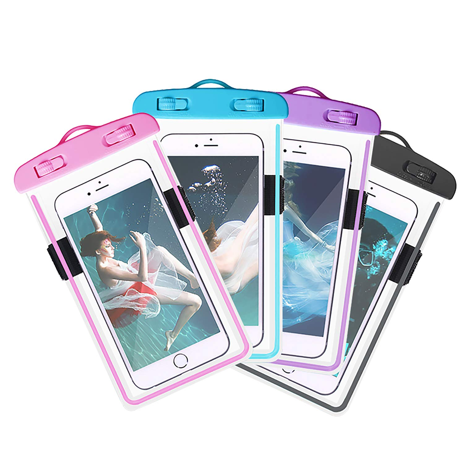 4-Pack Waterproof Case with Armband & Neck Strap, Luminous Transparent Cellphone Dry Bag Phone Pouch for iPhone X/8/7Plus/6S, Huawei, Samsung Galaxy Note HTC LG Sony up to 6.0'' (Assorted E) by Yii Design (Image #1)