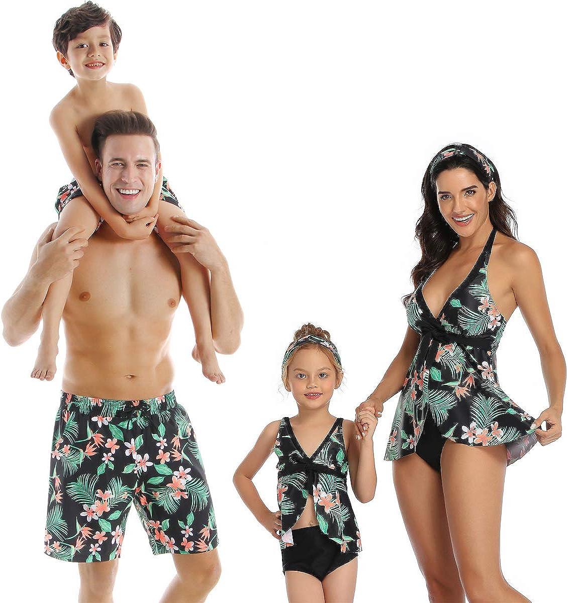 PURFEEL Family Matching Swimsuit Womens Bathingsuit Girls Swimwear Mom and Me Matching Swimwear