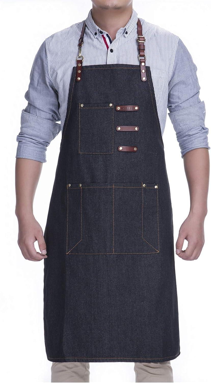 Segbeauty Grembiule Jeans Uomo Denim Grembiule BBQ Giardinaggio Grembiule Artigiano Cucina Grembiule Cuoco con 5 Tasche Regolabile Cinghie per Vita del Lether Grembiule Lavoro per Server