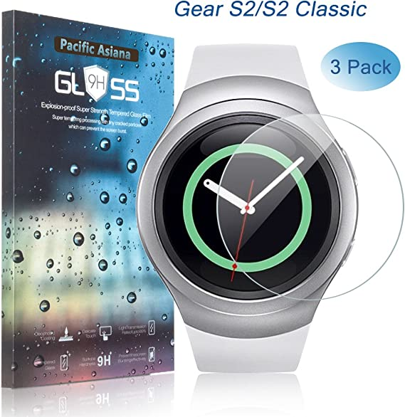Samsung Gear S2 Screen Protector, [3-Pack] Pacific Asiana Ultra Thin HD Clear Ballistic Gear S2/Gear S2 Classic/S2 3G Tempered Glass Screen Protector, ...