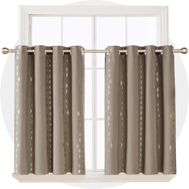 Each 52x45 Inch Light Beige Deconovo Geometric Line Foil Print Blackout Curtains Noise Reducing Room Darkening 45 Inch Long Short Curtains for Kitchen 2 Panles