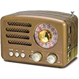 PRUNUS J-160 Retro Transistor Radio Battery Operated AM FM SW Radio, Small Rechargeable Portable Radio with 1800mAh Li…