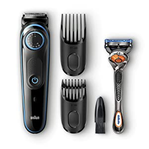 Braun Beard Trimmer & Hair Clipper, 2 Combs and Gillette ProGlide Razor Included, BeardTrimmer BT5040, 39 Length Settings with Precision Dial, Black/Blue