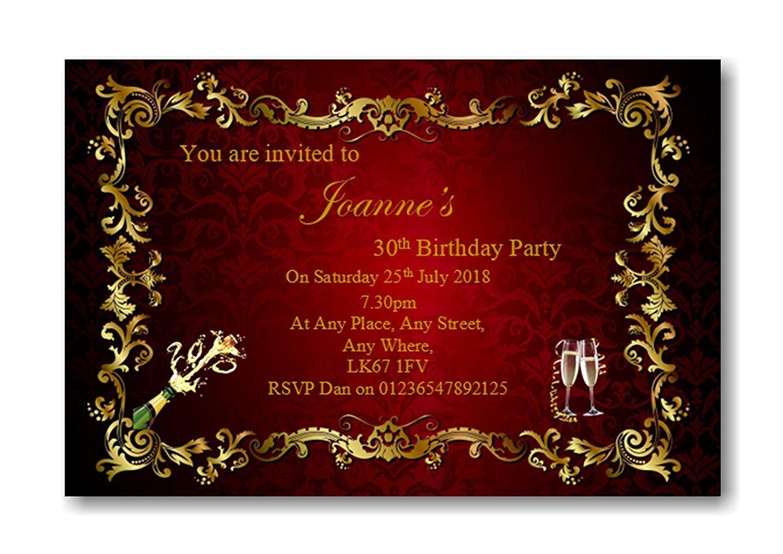 Personalised Beautiful Birthday Party Invitations , Invites, 16th ...