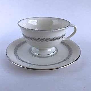 product image for Pickard China Silver Wreath 1098 Footed Cup and Saucer Ivory Silver Leaves