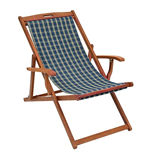 Rimini Deckchair - Traditional hardwood framed with arms & Blue Slip