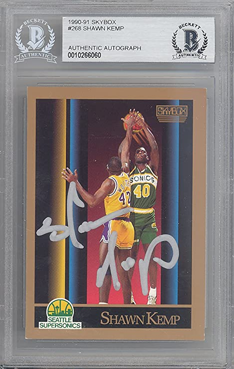 8624788ff3f92 SHAWN KEMP AUTOGRAPHED 1990-91 SKYBOX ROOKIE CARD #268 SEATTLE ...