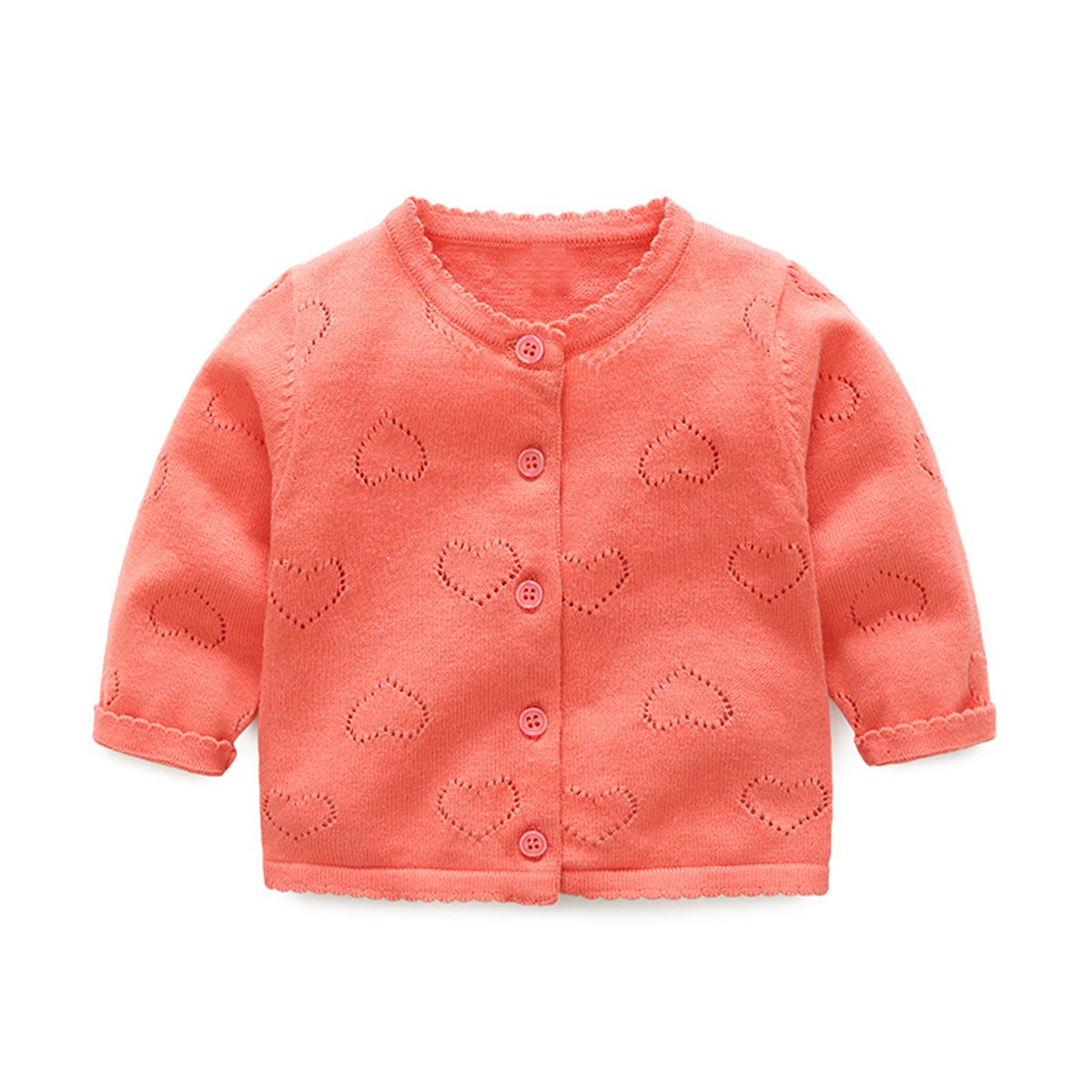 TAIYCYXGAN Baby Toddler Girls Cardigan Knit Sweater 0-2T Princess Heart Sweater Jacket Coat for Dresses Button-Down