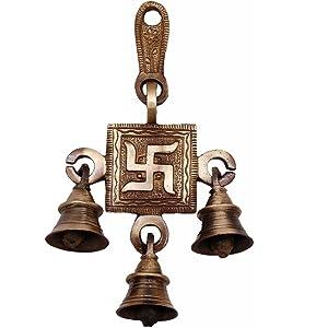 Metaldecor Brass Metal Religious Evil Eye Protection Door Swastik Symbol Wall Decor Hanging Bell, Standard (Antique Brown)