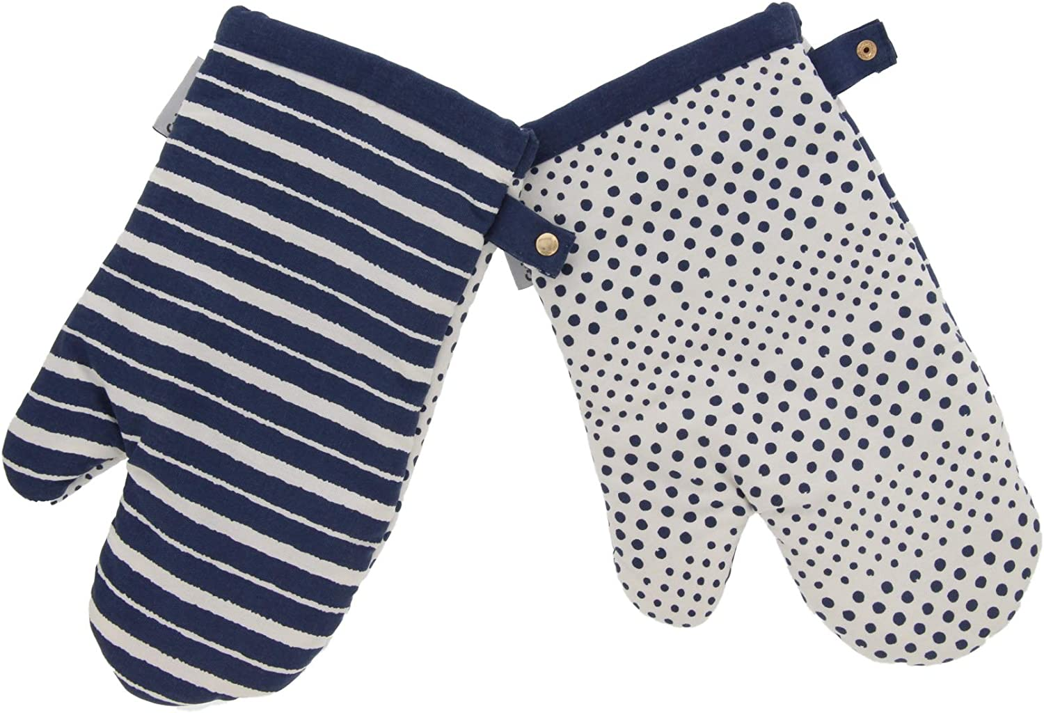 Cuisinart Reversible Print Oven Mitts, 2pk - Heat Resistant Oven Gloves Provide Protection and Safe Insulation to Handle Hot Kitchen Items - Non Slip Oven Mitt Set with Hanging Loop - Bering Sea Blue
