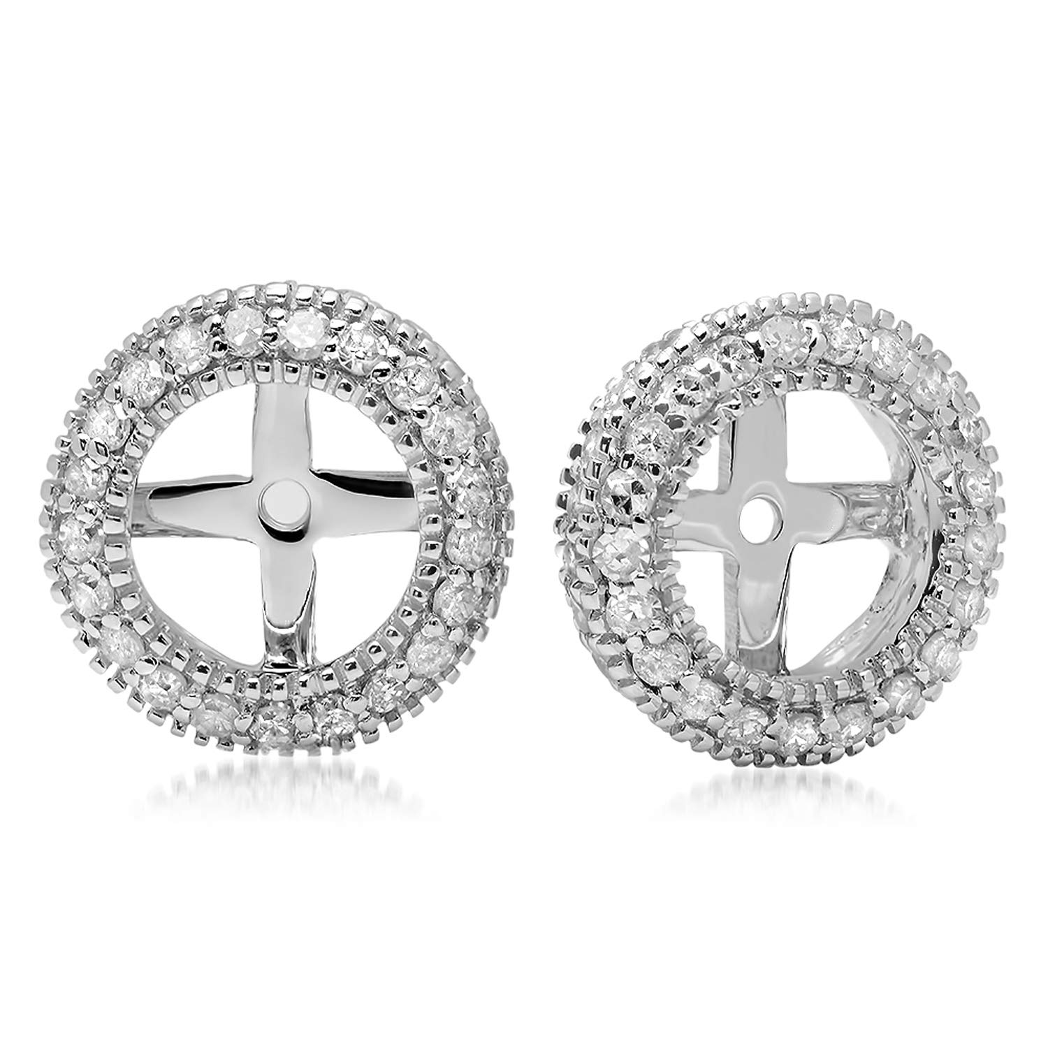 Dazzlingrock Collection 0.55 Carat (ctw) 18K Round Diamond Removable Jackets For Stud Earrings 1/2 CT, White Gold