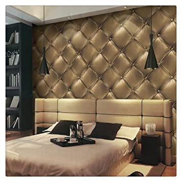 HaokHome 3231 Vintage Gold 3D Leather Textured Wallpaper Vinyl Mural 208quot