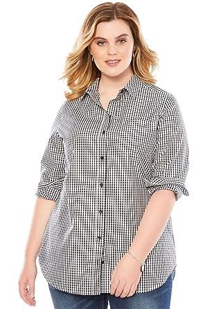 Roamans Women's Plus Size The Boyfriend Shirt at Amazon Women's ...