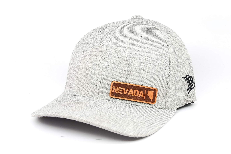 Branded Bills /'Nevada Native Leather Patch Hat Flex Fit SM//MD//Heather Grey