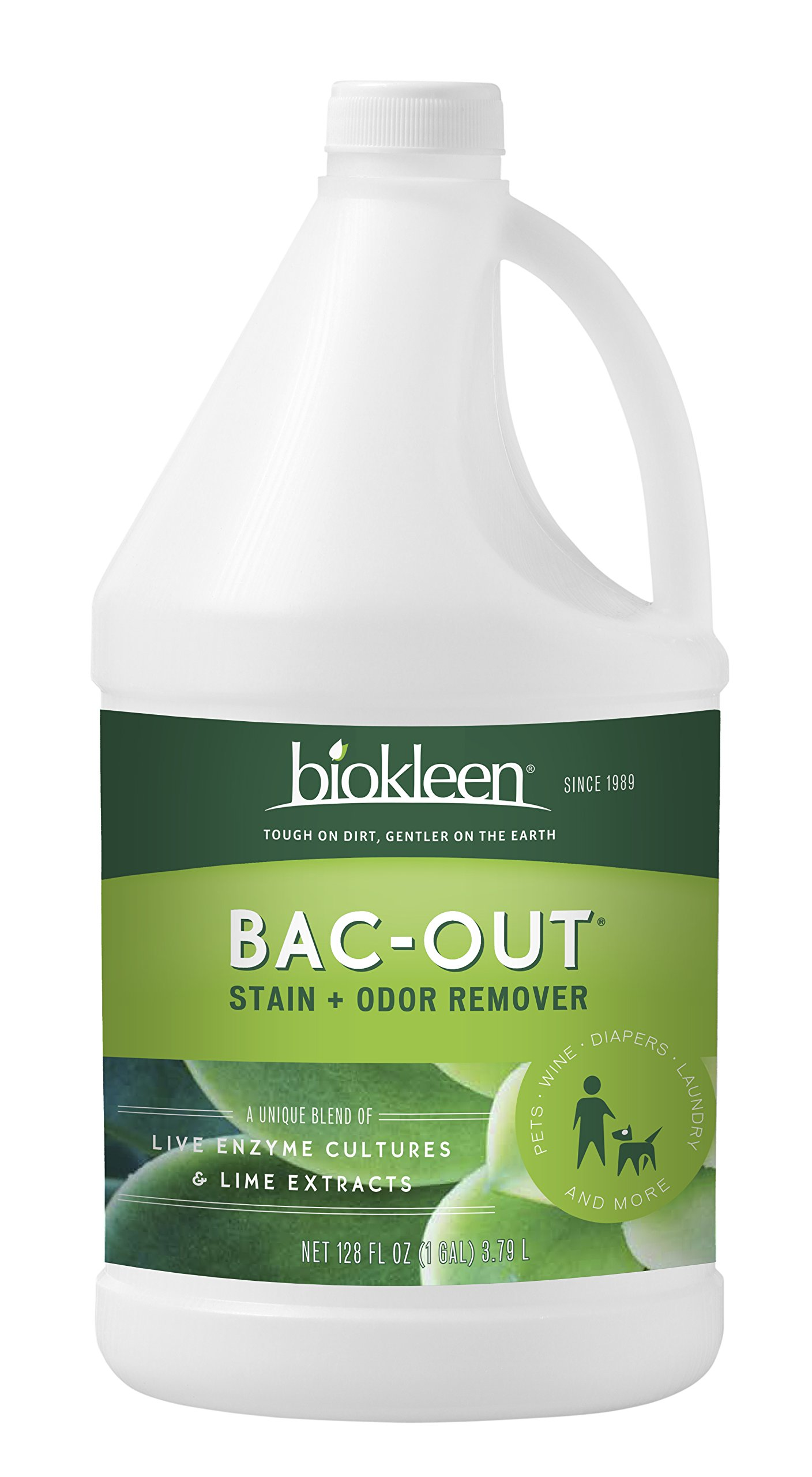 Biokleen Bac-Out Stain+Odor Remover, Destroys Stains & Odors Safely, for Pet Stains, Laundry, Diapers, Wine, Carpets, More, Eco-Friendly, Non-Toxic, Plant-Based, 128 Ounces (Pack of 4)
