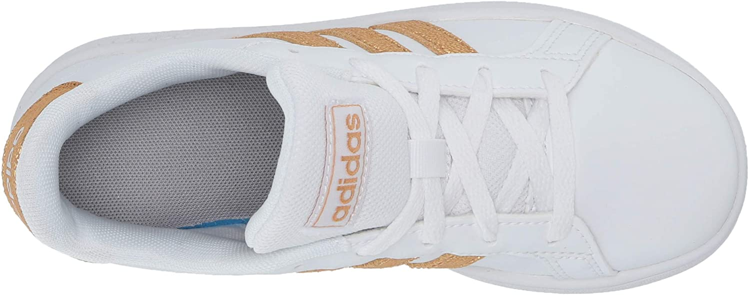 adidas Baby Girls' Grand Court Sneaker White Tactile Gold