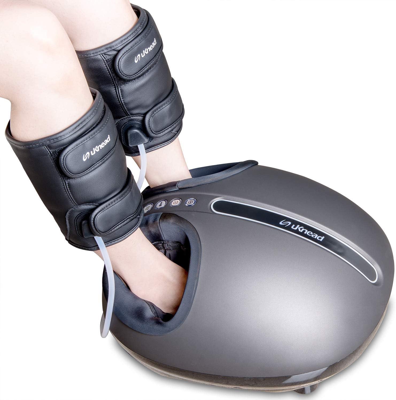 uKnead AiroPro Shiatsu Foot Leg Massager – Air Compression Leg Wrap, Reflexology Foot Roller Massage Heat