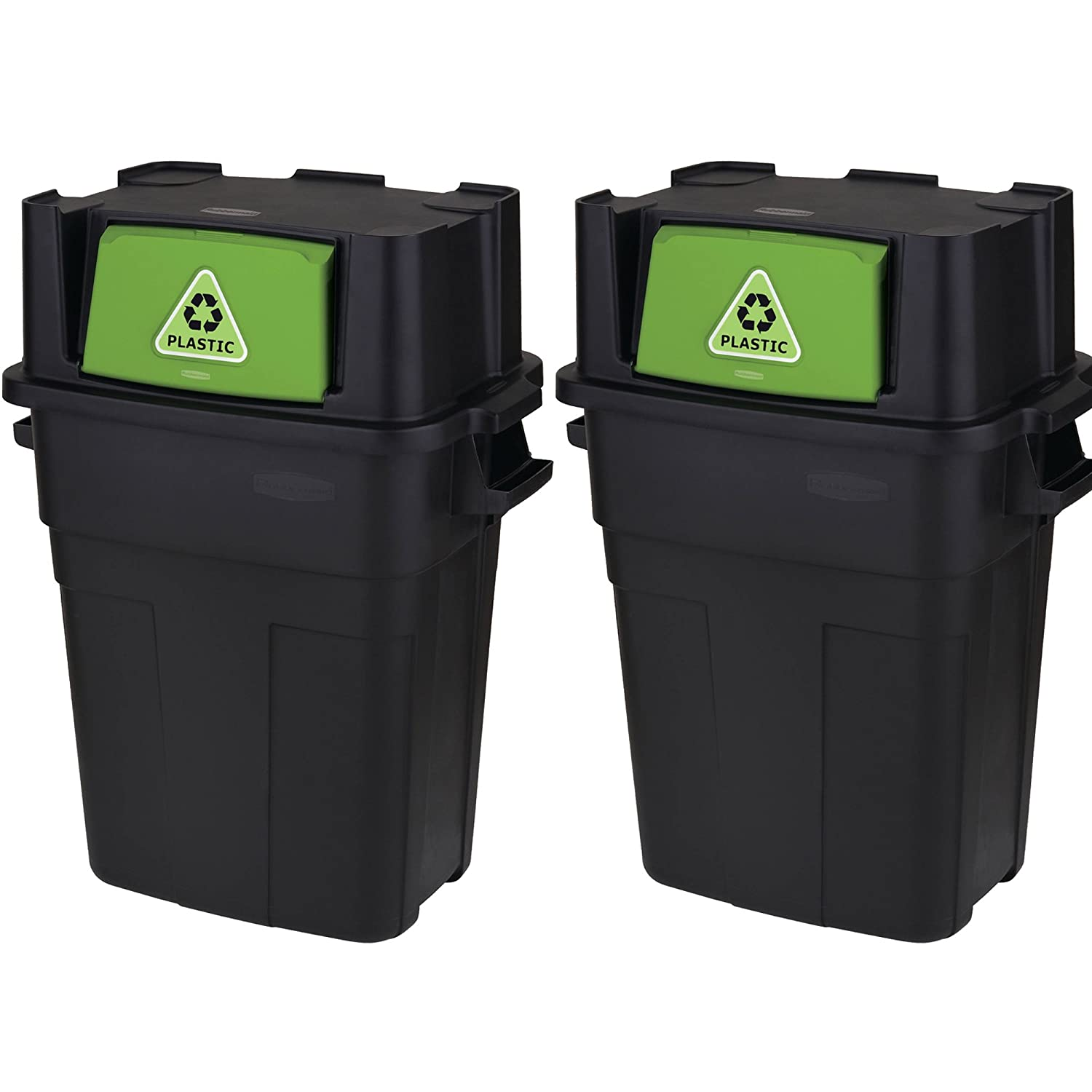 .MegaDeal. Stackable garbage trash recycle bin with flap door, 2-Pack