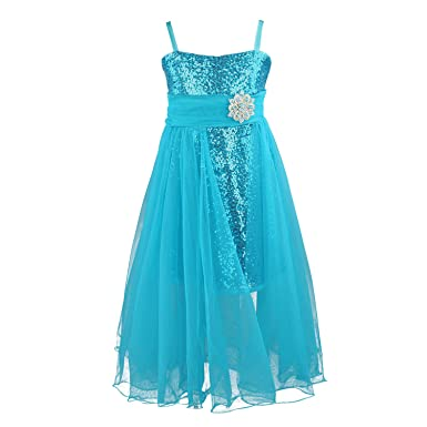 Discoball Flower Girls Sequin Tulle Trailing Dress with Tulle Scarf Flower, Formal Wedding Princess Dress