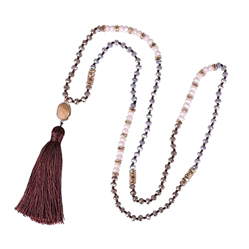 b8ec7bbeb7c961 KELITCH Long Necklaces for Woman Disk Tassel Pendant Necklaces Crystal AB  Beads Statement Necklace
