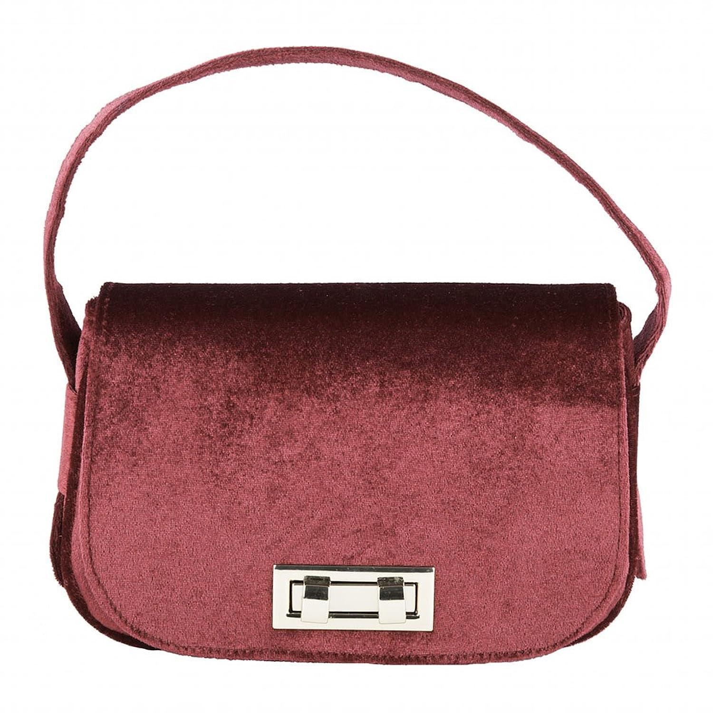 Handbag, Belina?red,?Velour, Dimensions in cm: 23 l x 15 h x 7 p, Anna Cecere