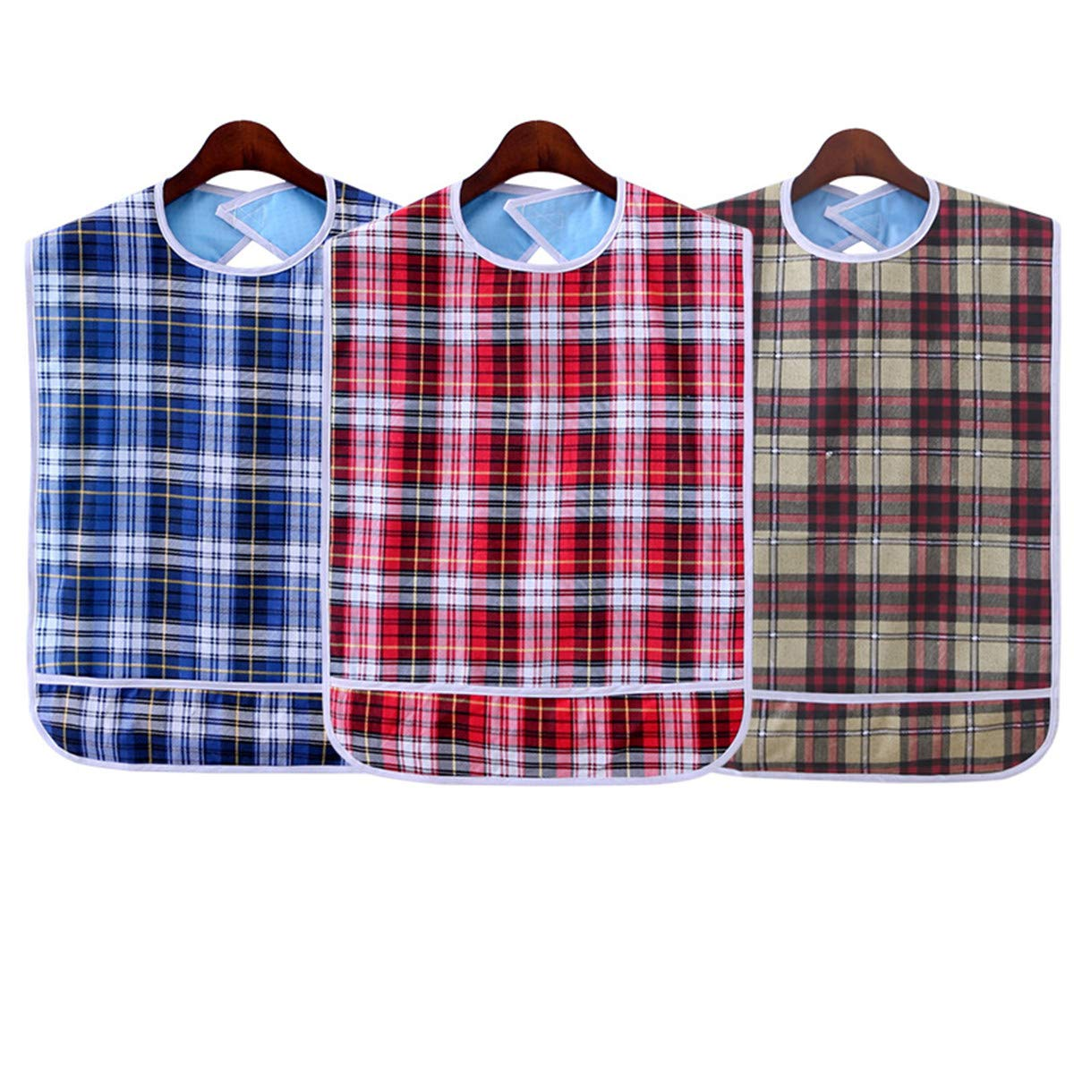 Adult Bib (3 Pack) Washable Reusable Waterproof Clothing Protector with Crumb Catcher for Men and Women 30''