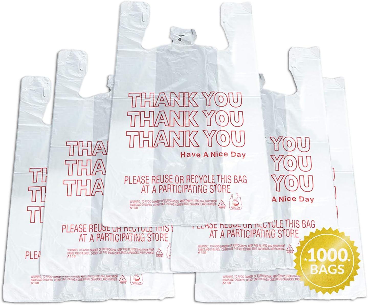 Reli. Thank You T-Shirt Bags (1000 Count), Plastic - Bulk Shopping Bags, Restaurant Bag - T-Shirt Plastic Bags in Bulk - (11.5