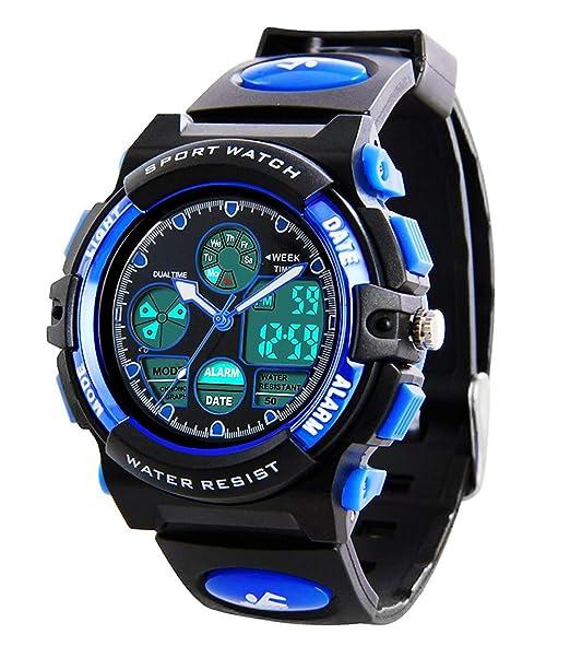 SPEUTO - Reloj deportivo digital para niños, impermeable, con cronómetro, reloj de pulsera LED analógico con cronógrafo: Amazon.es: Relojes