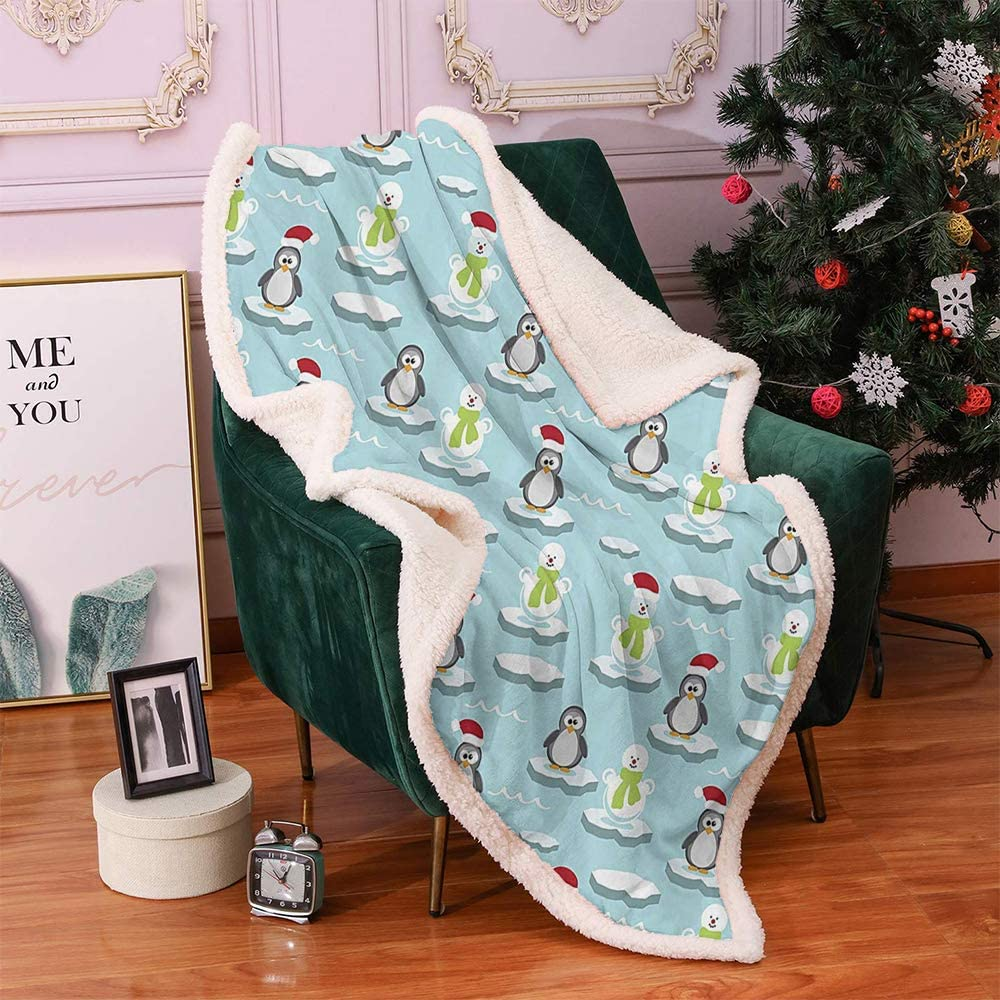 Xlcsomf Christmas Blanket,Printed Blanket Kids Cute Penguins and Snowmans on Ice Floes Antarctica Cartoon Caps Scarfs Funny Pattern Lamb Velvet,(60 x 30 inch) Multicolor