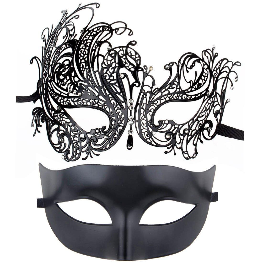 ECOSCO Couple Masquerade Mask Women Men Mardi Gras Venetian Ball Mask (Black+black6)