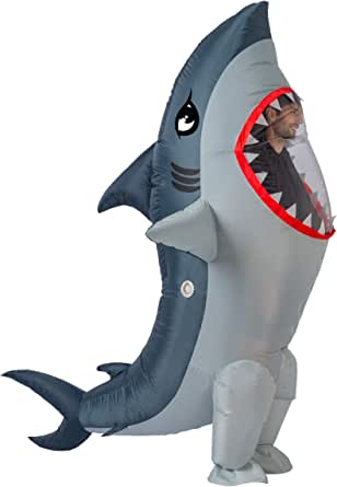 Spooktacular Creations Inflatable Costume Full Body Shark Air Blow-up Deluxe Halloween Costume - Adult Size