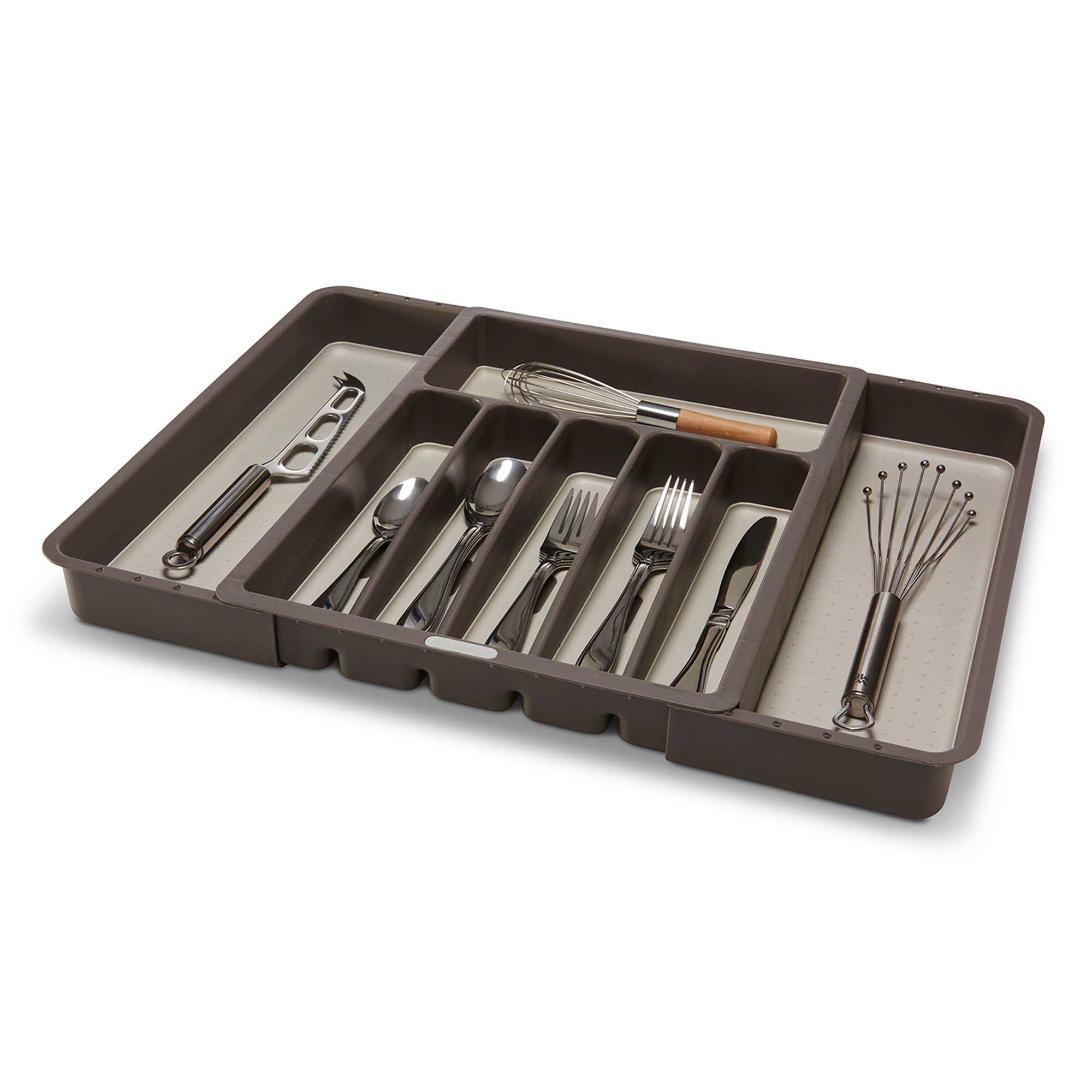 Made Smart Kitchen Drawer Organizer Expandable Total 8-Compartments Cutlery Tray in Brown