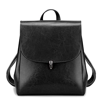 872f6644b423 S-ZONE Women Girls Ladies Leather Bag Purse Daily Casual Travel Small  Backpack (Black