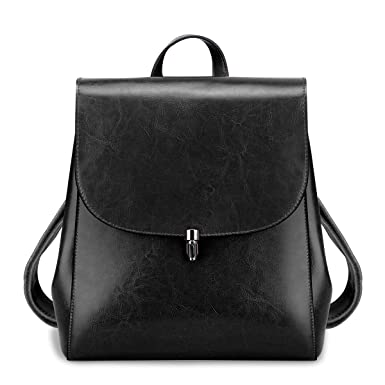 5932f5d63263 Amazon.com  S-ZONE Women Girls Ladies Leather Backpack Purse Daily Casual  Travel Bag (Black)  Clothing