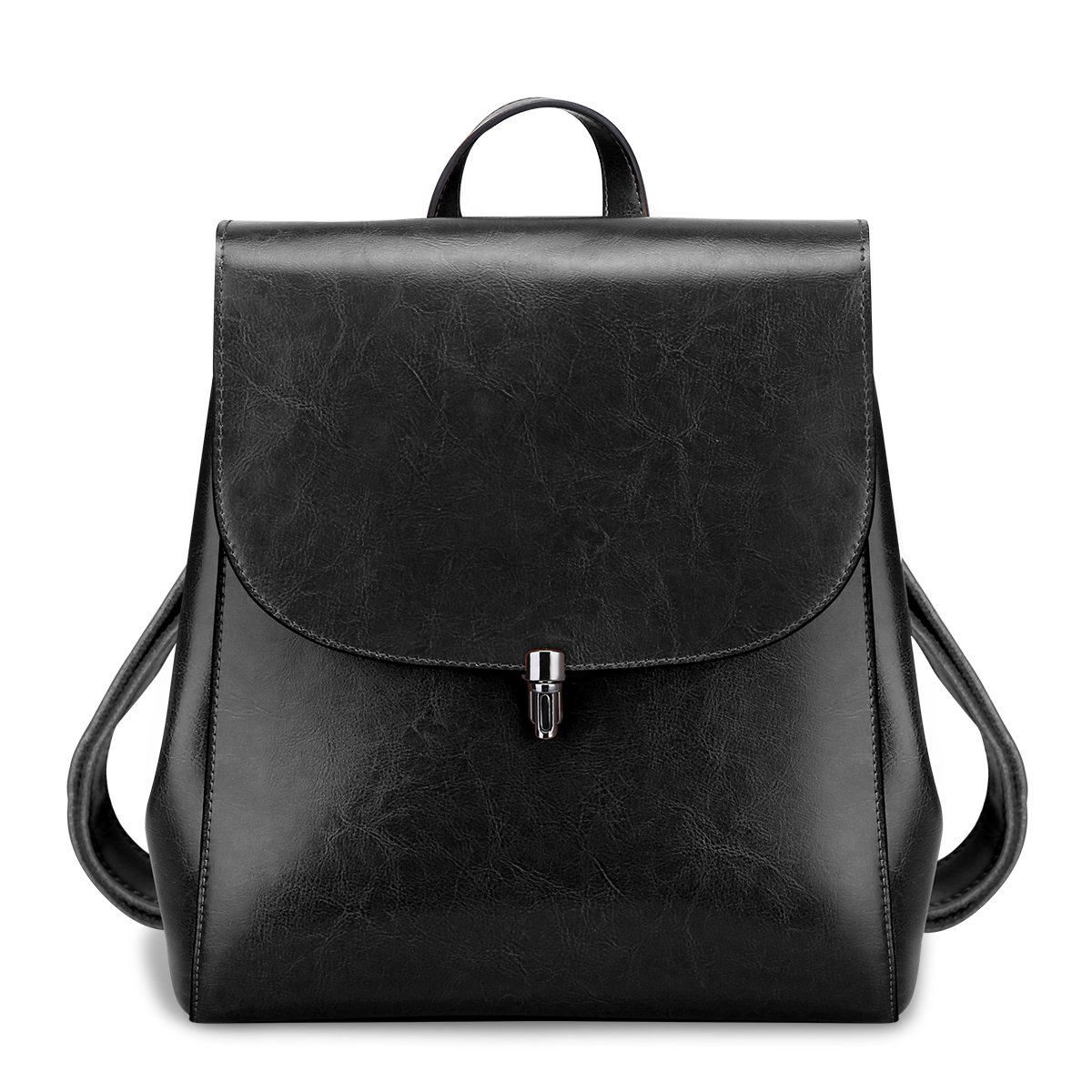 S-ZONE Women Girls Ladies Leather Backpack Purse Daily Casual Travel Bag (Black)