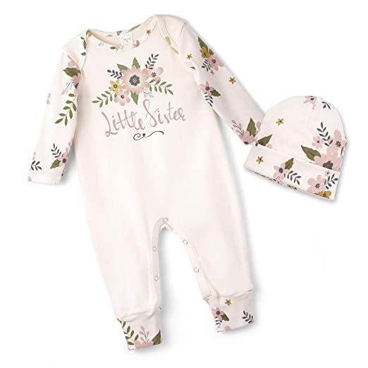 cc0ea3bffa5 Tesa Babe Little Sister Baby Romper and Floral Hat in (Newborn) Ivory Pink