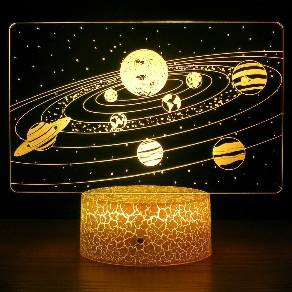 3D Espacio C/ósmico Ilusi/ón L/ámpara luz Nocturna 7 Colores Cambiantes Touch USB de Suministro de Energ/ía Juguetes Decoraci/ón Regalo de Navidad Cumplea/ños