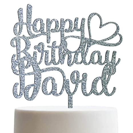 Image Unavailable Not Available For Color Happy Birthday Heart Personalized Name Cake Topper