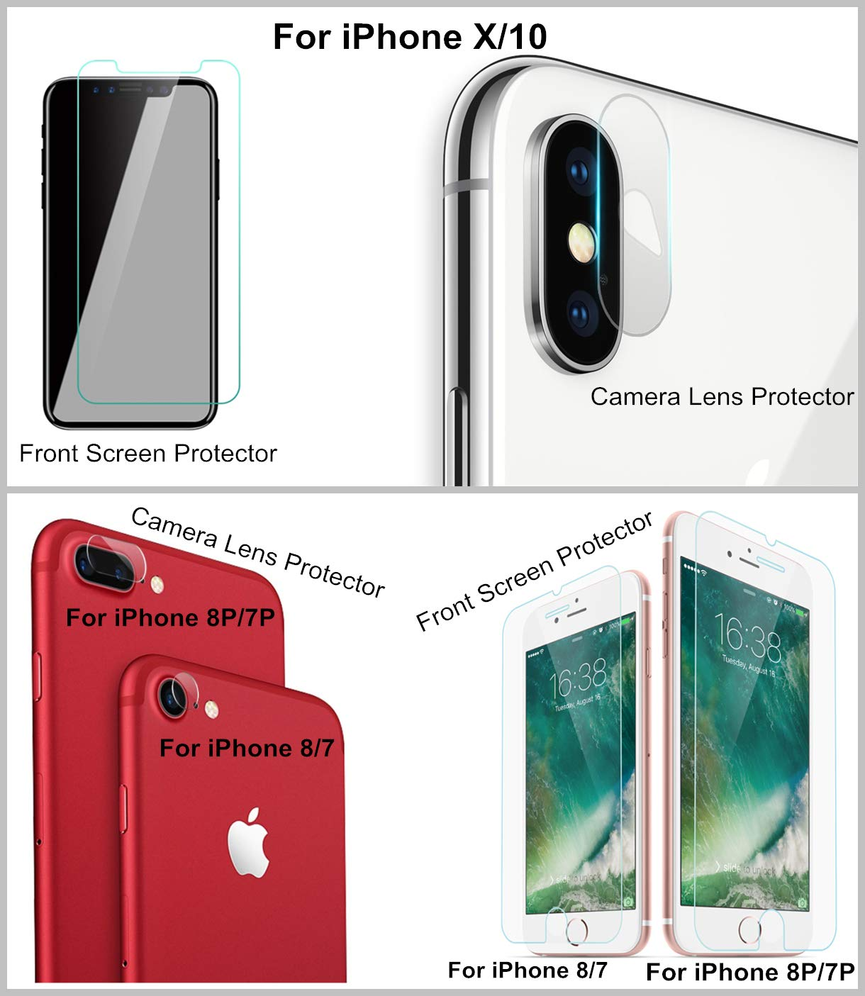Slow is Fast Cell Phone Tempered Glass Screen Protector Front + Camera Lens Protector 9H Anti-Scratch for iPhone X/10, 8 Plus, 7 Plus, 8, 7 (Clear, iPhone 7+), If Unsatisfied Refund The